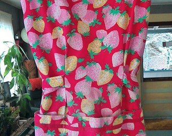FREE SHIPPING on a Blast to the Past Vintage Red and Pink Kitchen Apron