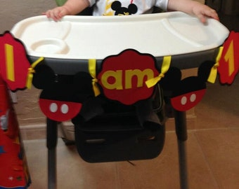 Mickey Mouse High Chair Banner - First Birthday
