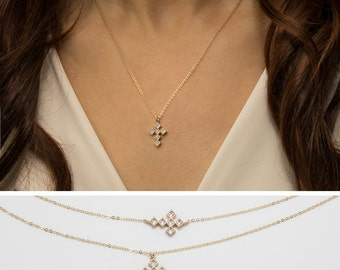 Diamond cross necklace etsy pave diamond cross necklace 14k gold filled chain dainty cross gold necklace minimal aloadofball Image collections