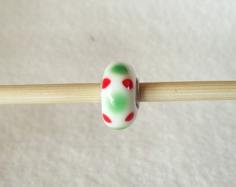 Red and Green Polka Dot Christmas Holiday Murano Glass and 925 Sterling Silver Beads for European Charm Bracelets F035