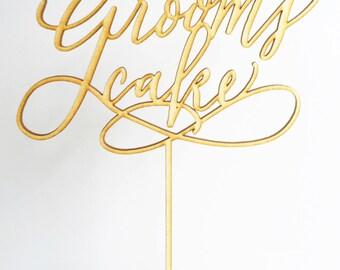 "Cake Topper ""Grooms Cake"" wedding, Laser cut Birch wood"