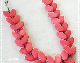 Cherry Painted Wooden Oval Long Simple Natural Statement Necklace
