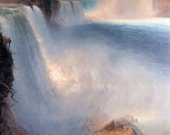 niagara falls print, frederic edwin church, the niagara falls from the american side, waterfall giclee print