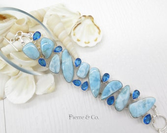 Larimar and Blue Topaz Sterling Silver Bracelet