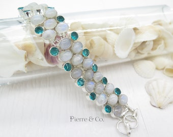 Rainbow Moonstone and Blue Topaz Sterling Silver Bracelet
