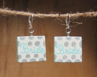 Bride, Wooden Earrings, Bride Earrings, Wedding Earrings, Wood earrings, Handmade earrings, Polka dots, Aqua, Silver, Bridal Shower