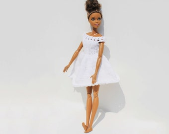 Handmade knitted fashionable white Barbie party dress. For dolls with style. Ready to ship!