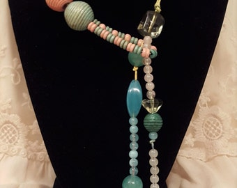 Upcycled Hemp Blue Green Pink Wrap Wooden Glass Beaded Necklace
