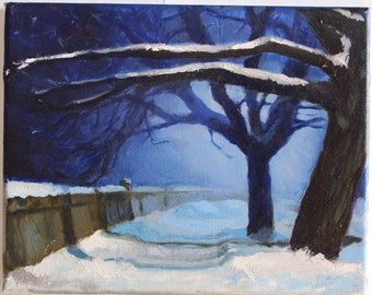 Winter Painting, Night Painting, Winter Landscape, Winter Decor, Original Oil Painting, Free Shipping