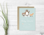 Woodland invitation - Baby shower invitation - Woodland animals invite - Mint baby shower invite - Printable invitation - Woodland creatures