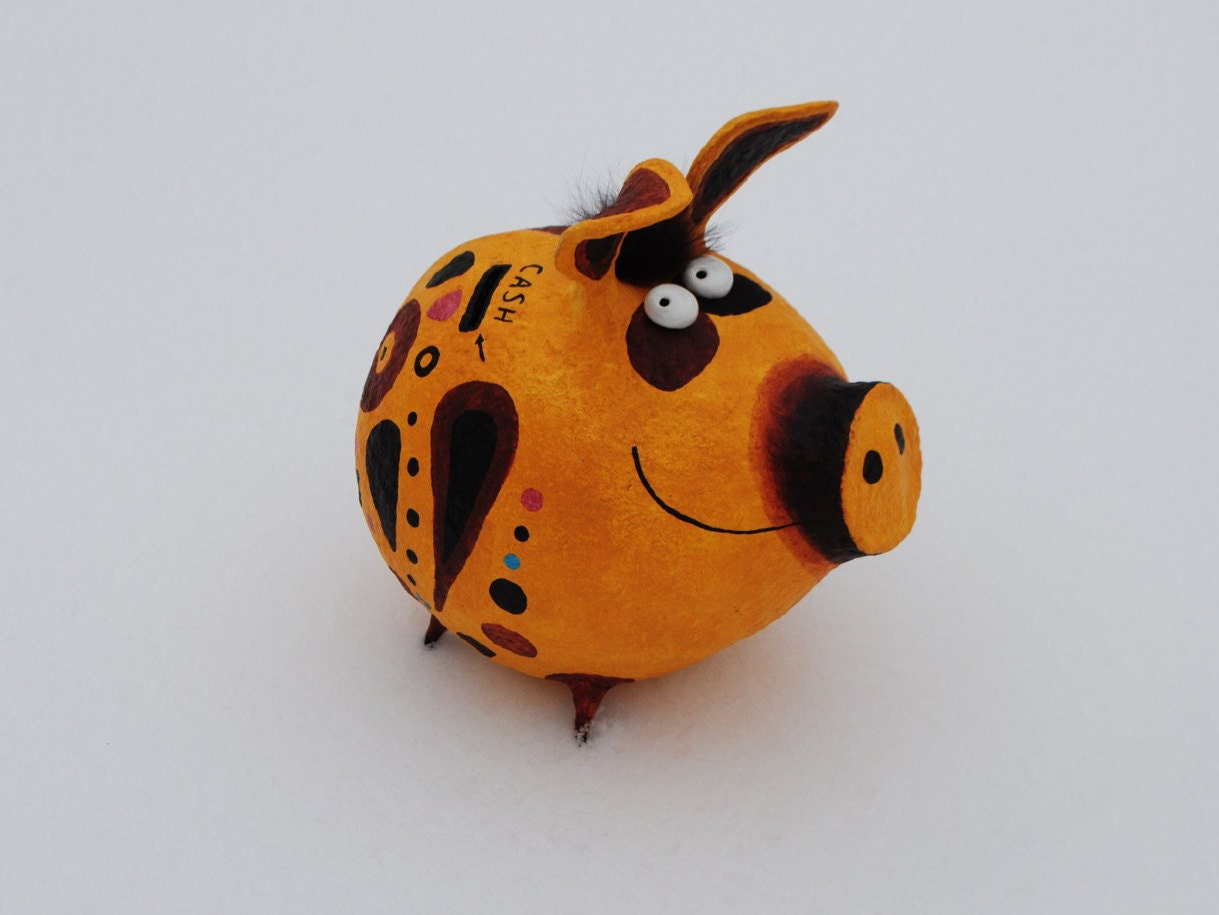 Piggy Bank Paper Mache Coin Box Moneybox Cash Box Kids