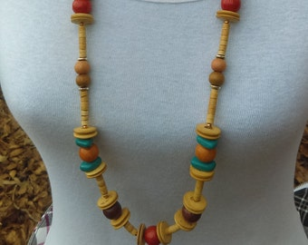1980's long beaded wooden necklace/Turquoise cream orange/Necklace/Long necklace/Beaded necklace/Wood necklace/Gift for her/Gift for mother/