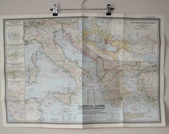 National Geographic map  Classical Lands of the Mediterranean 1949 Vintage