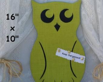 Kids or Office Bulletin Cork Board Fabric Memo Board, Kitchen Organizer, Green Owl Message Board, Wall Organizer Office