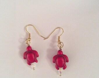 Red Turtle Earrings