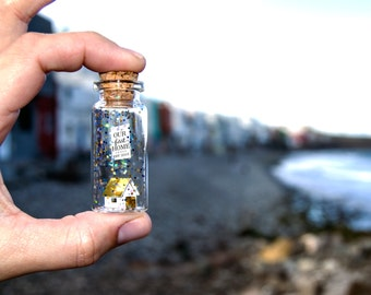 Our first home. Personalized Home Gift. First Home Gift. New House Housewarming Gift. Closing gift. Message in a bottle. Special home card.