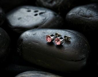 Swarovski Crystal Rose Solitare Earrings set in Rhodium finish