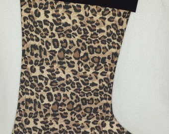 Cheetah Quilted Christmas Stocking