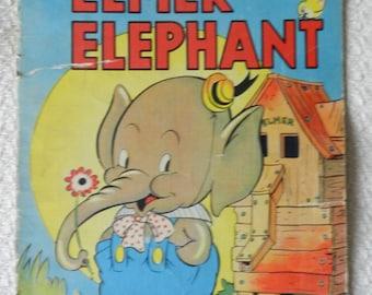 "Large Walt Disney ""Elmer Elephant"" Children's Book - with Mickey Mouse - Copyright 1938 - Whitman Publishing - Linen-Like - Rare Character"