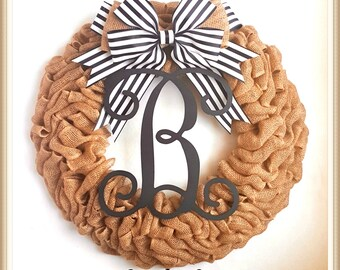 Fall Wreath-Burlap Fall Wreath-Front Door Wreath-Monogram Wreath-Initial Burlap Wreath-Personalized Wreath-Wedding Wreath-Fall Wreath Sale