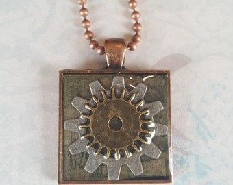 Steampunk Gear Necklace Layered Resin Pendant