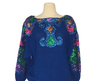 80s Sweater - Sequined Sweater - Vintage Sweater- Sequins- Magic - Size Medium Blue 1980s Sequin Sweater - Forget the Jewelry Sweater