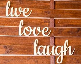 Live Love Laugh wooden sign - Lasercut - cutout - wedding decoration - gift - relax -  hanger - door decor - Living room