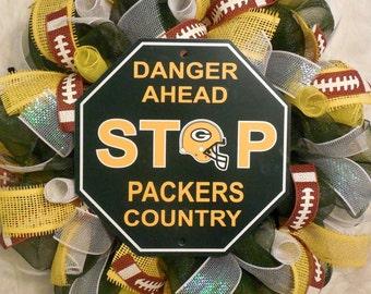 Packers Wreath, Green Bay Packers Wreath, Packers Decor, Green Bay Packers Decor, Green Bay Packers, NFL Wreath, Football Wreath, Wreath