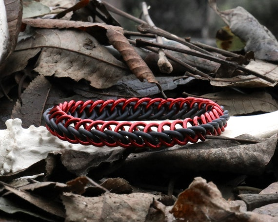 Red and Black Half Persian Stretchy Chainmaille Bracelet - Stretch Chain Maille Jewelry - Rubber Stretch Chainmail Bracelet Cuff