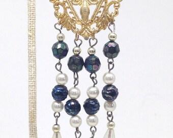 Precious Vintage Estate Faux Pearl Beaded Dangle Gold Tone Earrings