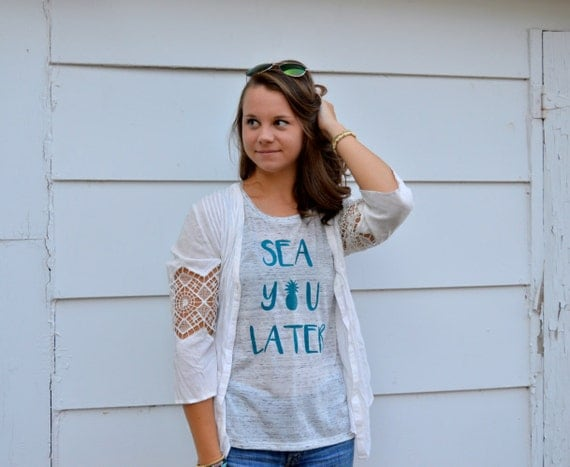 Sea You Later Pineapple Tank: White Marble