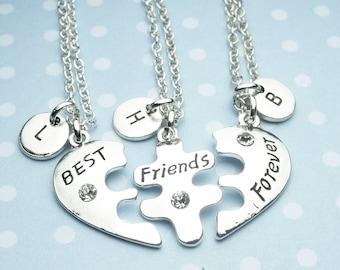 3 BFF Necklace, best friend necklace set, three 3 necklace set, three heart necklace set, personalised initial letter necklaces, friendship