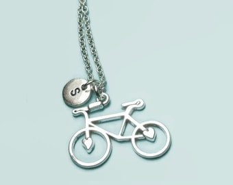 Bicycle necklace, bike necklace, cycling necklace, personalised initial necklace, custom letter necklace, cyclist, tour de f