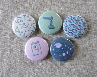 geek science/space 5 pack pinback buttons