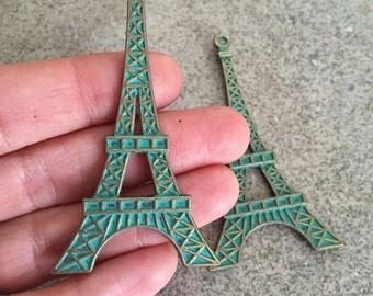Large Eiffel tower pendant patina charm jewelry making supplies