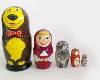 "Hand-painting nesting dolls ""Masha and the bear"".Height 15 cm. Nesting dolls"