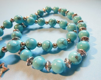 Set of 2 turquoise and silver bracelets
