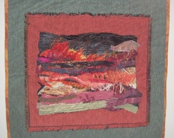 "Art Quilt entitled ""Bushfire Encroaching"""