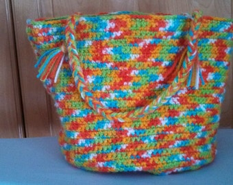 Hand crocheted, lined tote bag