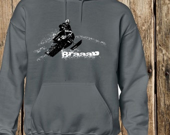 Braaap  Hoodie, SledHouse Designs, Snowmobile Tees, Custom Apparel for Men Ladies and Kids