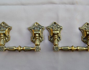 French Victorian Large Pair of Piano Handles - Antique Gilded Bronze Hardware 19th.c - Furniture Ornament - Repurpose Supplies