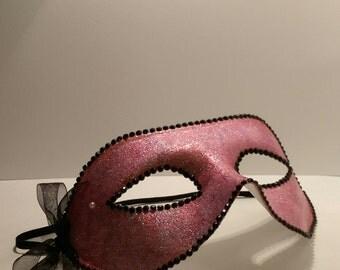 Pink Glittered Masquerade Mask