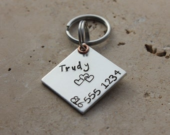 Dog Tag - Pet Tag - Pet ID Tag - Personalized Tag - Dog Collar Tag - Hand Stamped Tag - Square Dog Tag - Trudy