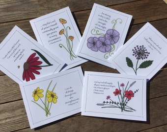 Set of 6 Christian greetings cards,Notelets,Scripture cards,Encouraging Bible verses, NASB