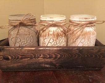 Mason Jar Planter, mason jars, home decor, bathroom decor, rustic decor, centerpiece, planters, country, hostess gift, housewarming gift