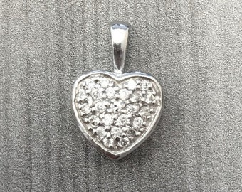 Diamond Heart Pendant - Cluster Diamond Pendant in 14k White Gold