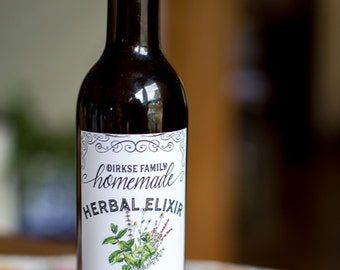 Customized Label - Herbal Liqueur, Crème de Menthe, Herbal Elixir, Spearmint, Basil & Mint Spirits - Label for Your Homemade Liqueurs