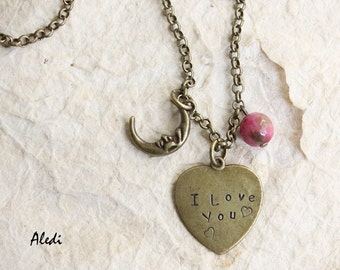 customizable/personalized necklace jewels/custom jewels/written/aledi/I love you jewelry