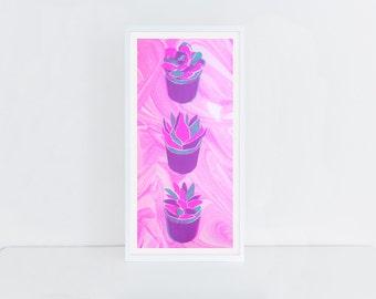 Marbled Neon Succulents Silkscreened Art Print