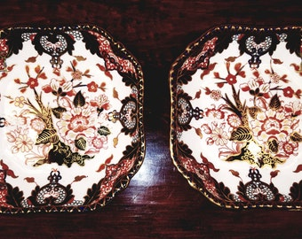 Pair of Antique Imari Royal Crown Derby platters, date mark for 1885